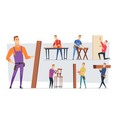 carpentry job handyman character or craftsman vector image