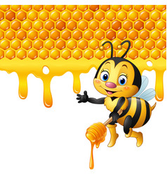 Cartoon bees holding the handle with honey vector