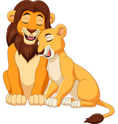 cartoon lion couple vector image