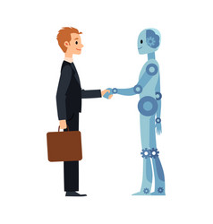 Cartoon robot and business man handshake vector
