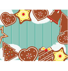 christmas background with gingerbread cookies on vector image