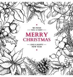 Christmas frame card hand drawn vector image