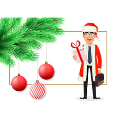 christmas postcard with man in santa claus costume vector image