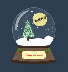 Christmas snow globe with tree and deers vector
