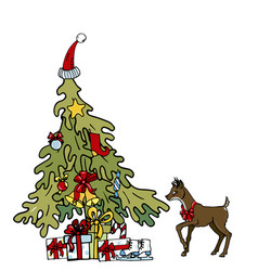 christmas tree with gifts and young deer vector image