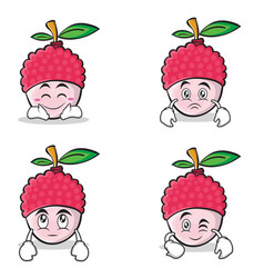collection of lychee cartoon character style set vector image vector image