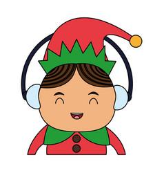 Color image cartoon half body christmas elf with vector