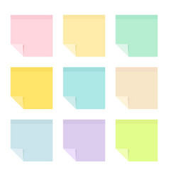 colored sticky paper notes with curled corners vector image