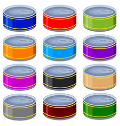 colorful cartoon can mock up set vector image