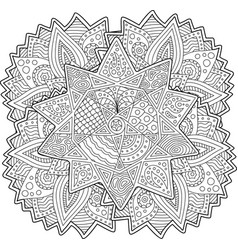 coloring book page with stylized shape of the star vector image