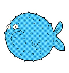 Comic cartoon puffer fish vector