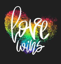 Conceptual poster with lettering and rainbow heart vector