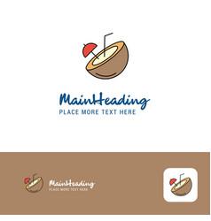 creative coconut logo design flat color logo vector image