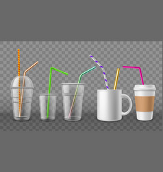 Cups with straws realistic disposable mugs 3d vector