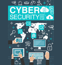 Cyber security internet poster vector