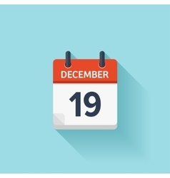 December 19 flat daily calendar icon vector