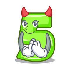 Devil number five isolated on the mascot vector