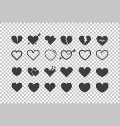different hearts isolated on transparent cliipart vector image