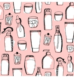 Doodle cosmetic pattern Fashion background with vector