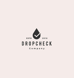 drop check logo hipster retro vintage icon vector image
