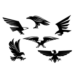Eagle isolated icons heraldic bird emblems vector image