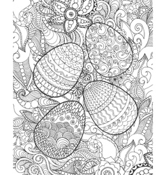 Easter eggs and flowers coloring page vector