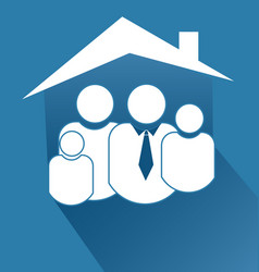 family people together inside house icon vector image