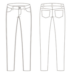 Fashion technical sketch jeans in vector