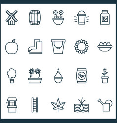Garden icons set with eggs bailer windmill and vector