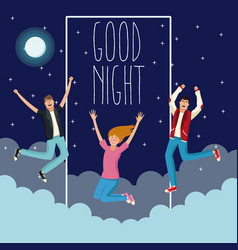 Good night and young people vector