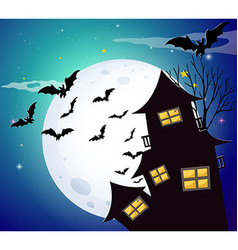 Halloween night with bats and haunted house vector