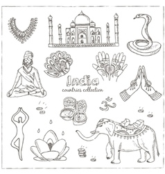 Hand drawn doodle India symbols set vector image