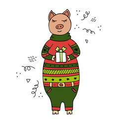 hand-drawn pig in a christmas sweater vector image