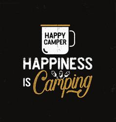 hand drawn travel badge with camp mug vector image