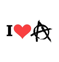 I love anarchy symbol disorder and chaos emblem vector