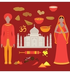 India set Hinduism design elements South Asia vector
