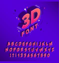 Isometric 90s font memphis alphabet 80s cubic vector