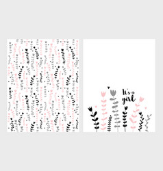 It is a girl card and cute pattern vector