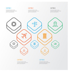 Journey outline icons set collection of map pin vector