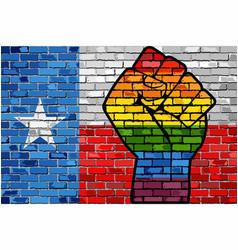 Lgbt protest fist on a texas brick wall flag vector