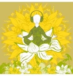Man sitting in lotus position in lotus flower vector image