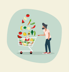 man with vegetables in shopping cart vector image