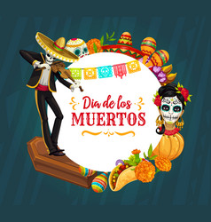 Mexican holiday sugar skull skeleton day dead vector