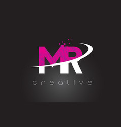 Mr m r creative letters design with white pink vector