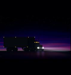Night large classic big rig semi truck vector