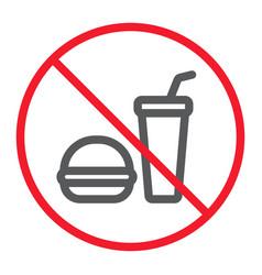 no food line icon prohibition and forbidden vector image