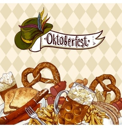 Oktoberfest celebration design with beer vector