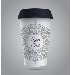 Paper Coffee or Tea Cup with Mandala vector image vector image