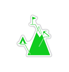 paper sticker on white background mountain vector image