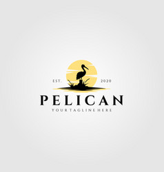 Pelican bird logo vintage with sun background vector